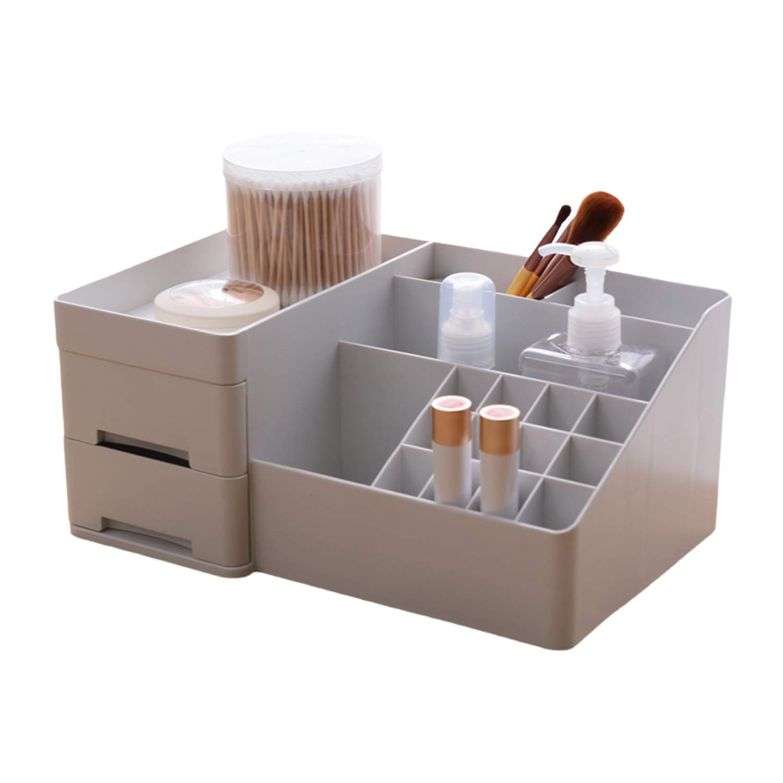 Makeup Organizer LAIBUY Multifunctional Durable Cosmetic Storage for Creams, Lotions, Makeup Brushes, Lipsticks, Eye Shadow, Bathroom Bedroom Dresser Vanity (Gray)