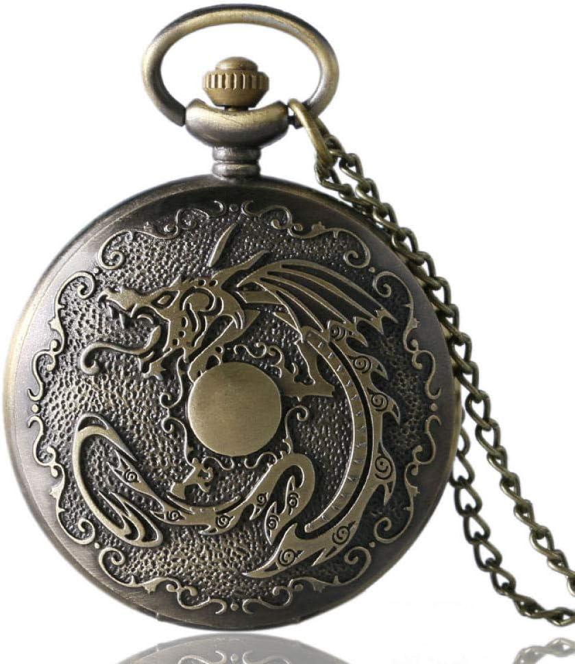 FEELHH Reloj De Bolsillo De Cadena Vintage,Bronce Bronce Steampunk Dragón Malvado Fuego Collar Colgante Cuarzo Hombres Mujeres Cadena