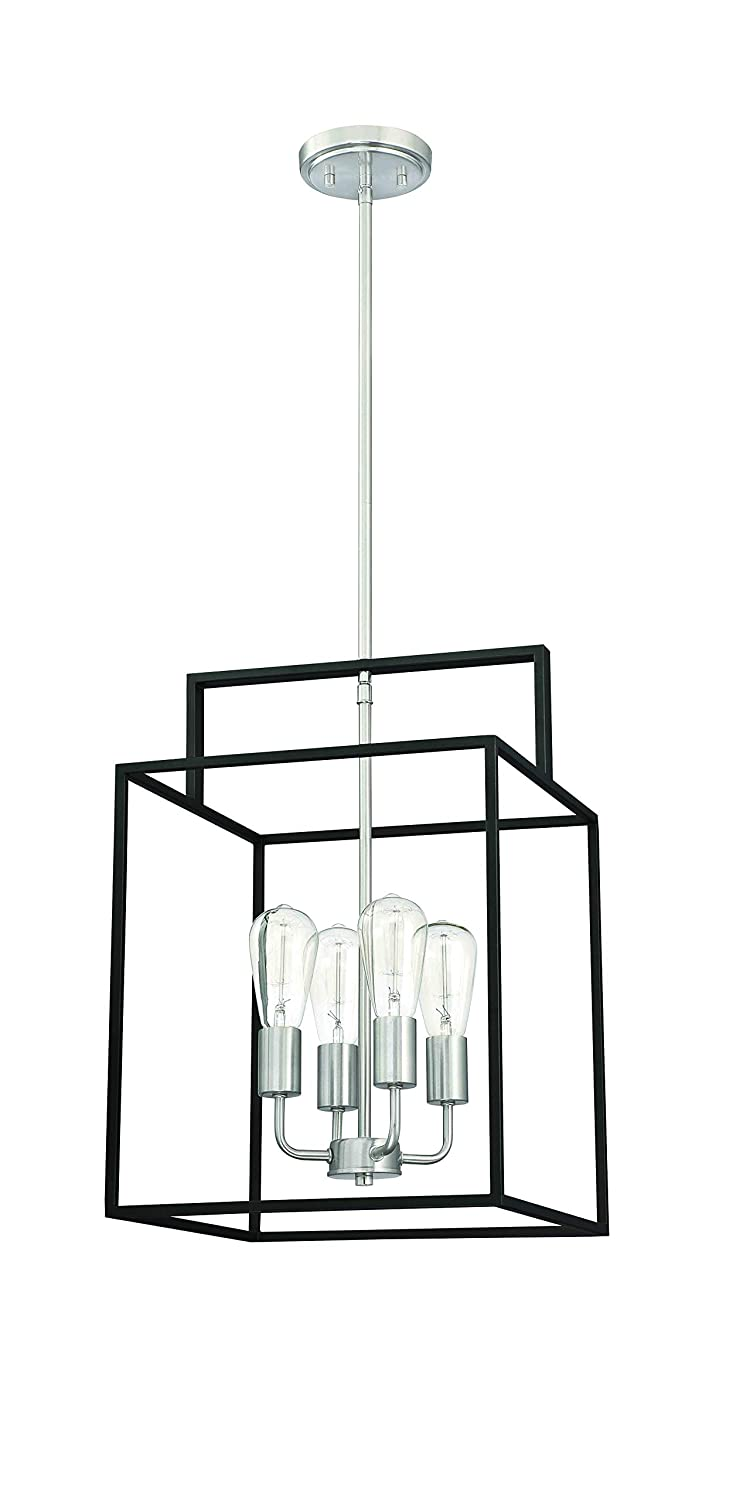 Aged Bronze with Brushed Nickel Accents 4 Mega Lighting 4 Light Square Pendant 60W A19 max.// Medium Base