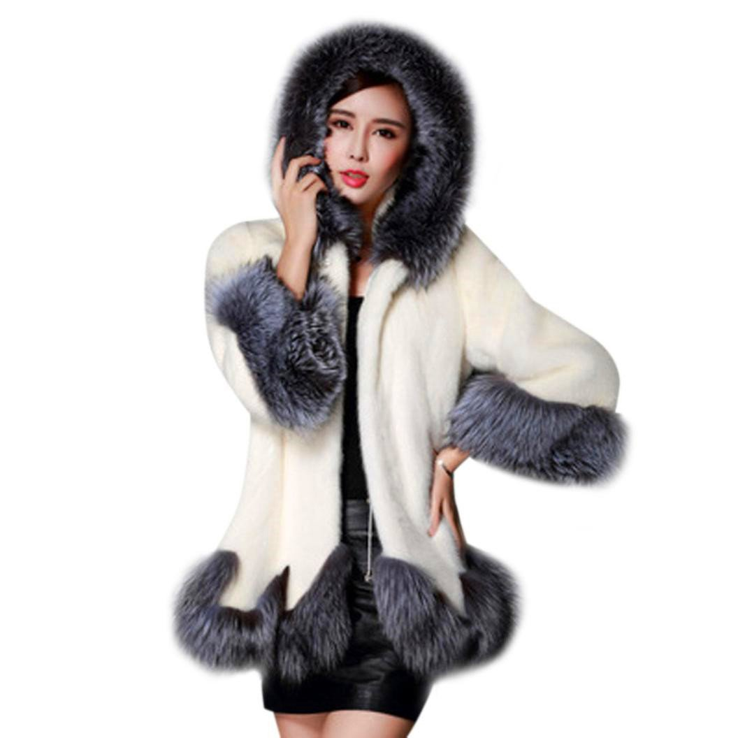 Qisc Women's Warm Coat Long Sleeve Fluffy Faux Fur Parka Outwear Luxurious Overcoat Jacket (US Size:14, White) by Qisc