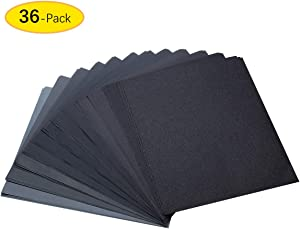 120 To 5000 Assorted Grit Sandpaper for Wood Furniture Finishing, Metal Sanding and Automotive Polishing, Dry or Wet Sanding, 9 x 11 Inch, 36-Sheet