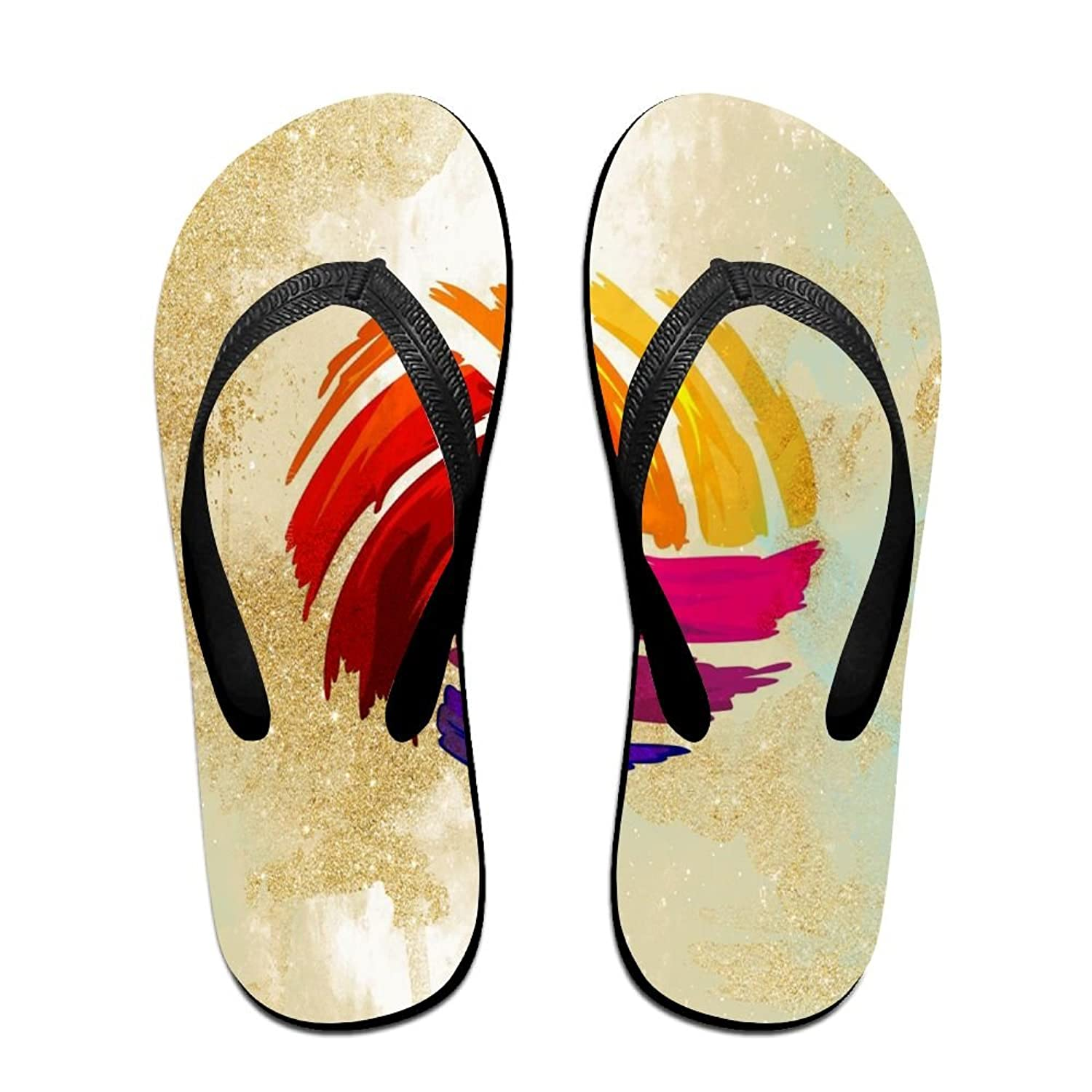 HXXUAN Unisex Non-slip Flip Flops Colorful Volleyball Cool Beach Slippers Sandal