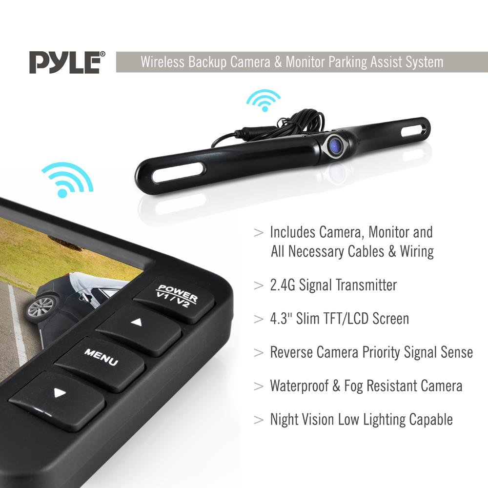 Wireless Rearview Backup Car Camera – Car Monitor System, Parking Reverse Safety Distance Scale Lines, Waterproof Night Vision Cam, 4.3 Screen Video Color Display for Vehicles By Pyle by Pyle (Image #2)