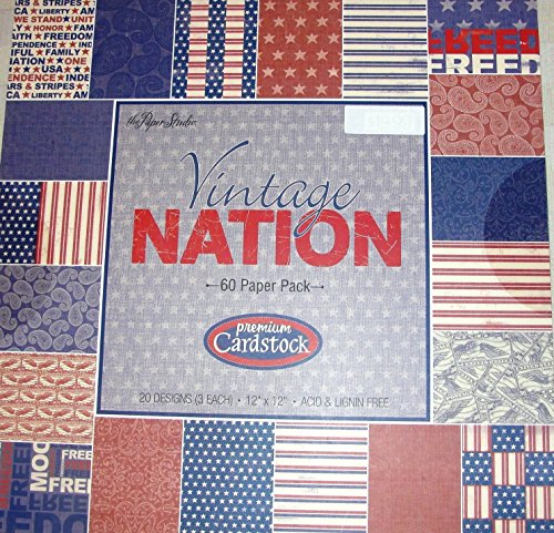 (Vintage Nation 12 x 12 Patriotic Military Scrapbooking Paper Pack 60 sheets)