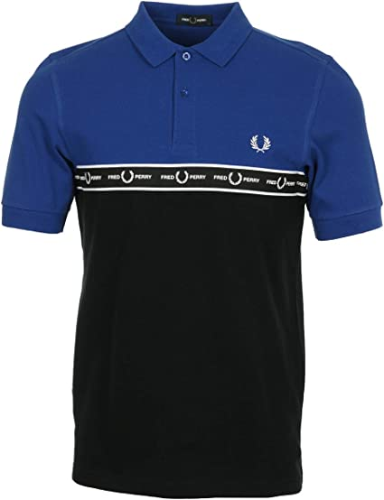 Fred Perry Taped Chest Polo Shirt Bright Regal, Polo Shirt - XL ...