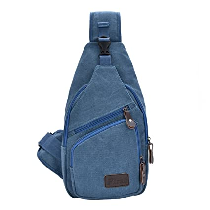 6f1211b8c1 Daosen Sports Unbalance Backpack Sling Bag for Men Canvas Chest Pack Hiking  Bag Blue