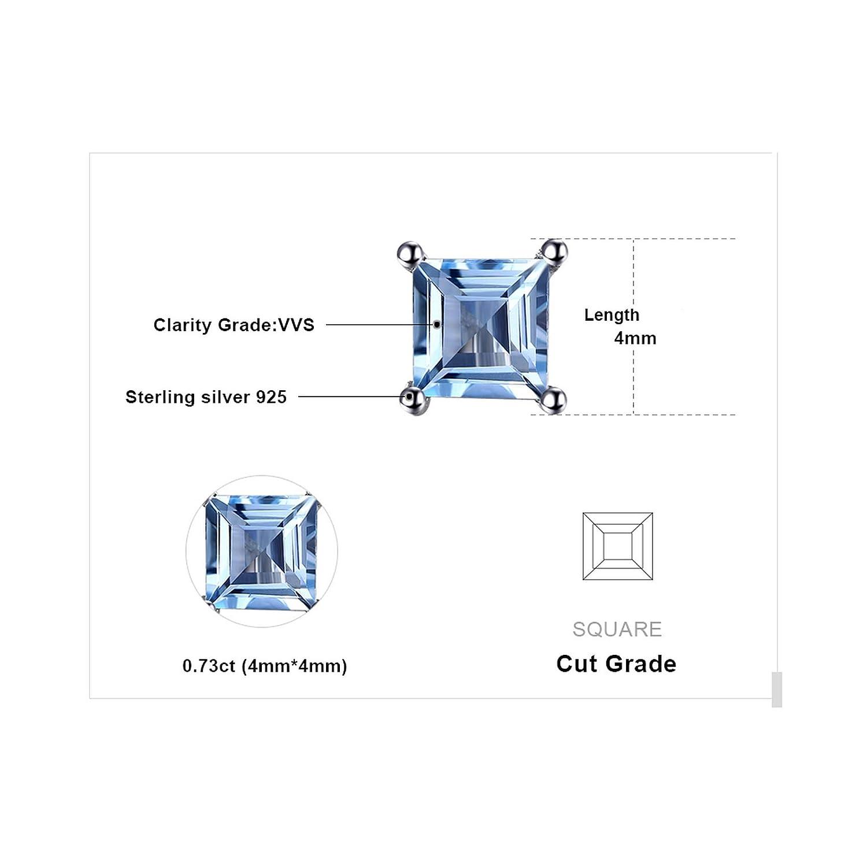 CS-DB Silver Natural Sky Blue Square Topaz Dazzling Stud Charm Earrings