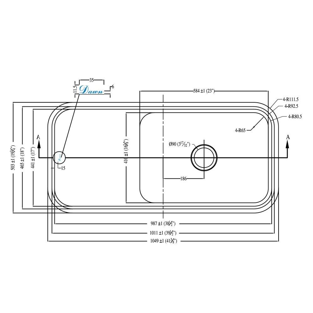 Dawn DSU4120 Undermount Single Bowl with Work Surface, Polished Satin by Dawn (Image #3)