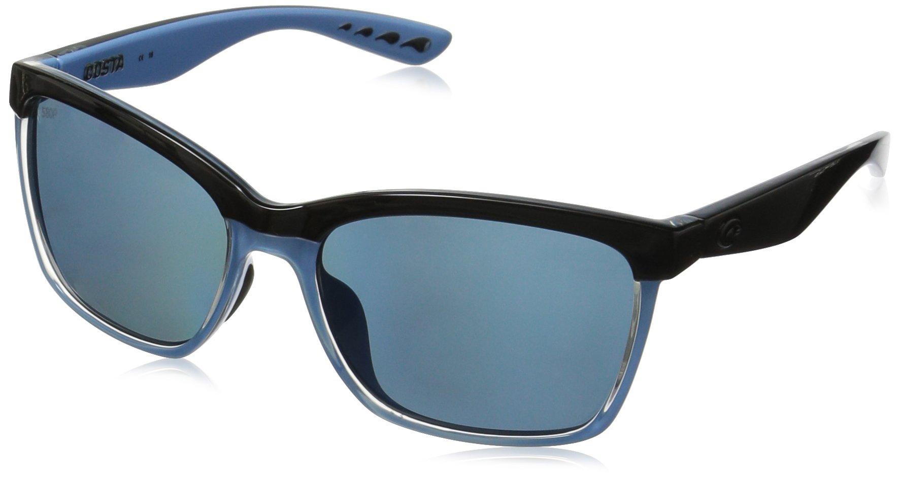 Costa Del Mar Anaa Sunglass, Shiny Black/Crystal/Light Blue, Gray 580Plastic