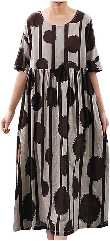 Dasongff Kleider Damen Lang Sommer Elegant Strandkleid Kurzarm  Rundhalsausschnitt Casual Lose Maxi Kleider Drucken Maxikleider Leinenkleid  Abendkleid