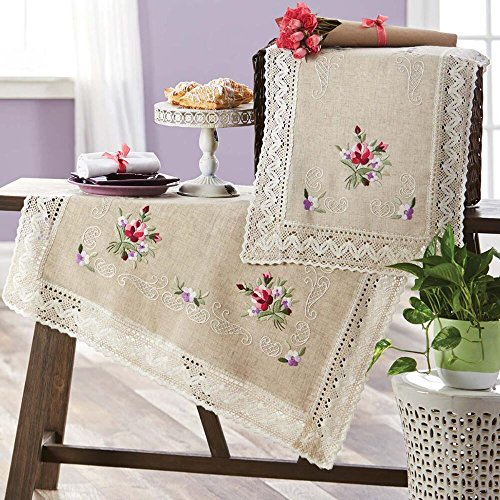 Herrschners® Summer Magic Table Topper Stamped Embroidery - Topper Table Embroidery Stamped