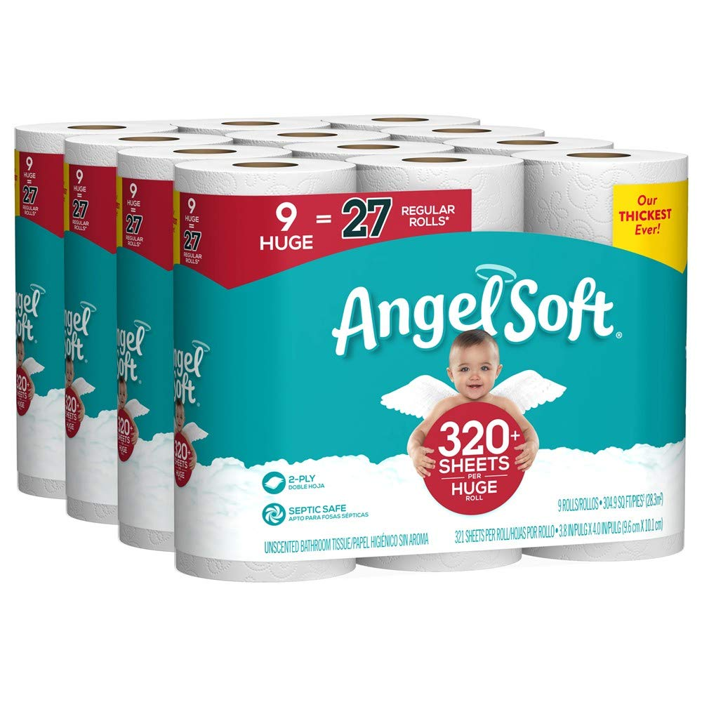 Angel Soft Toilet Paper, 36 Huge Rolls, 36 Rolls = 108 Regular Rolls, Bath Tissue by Angel Soft