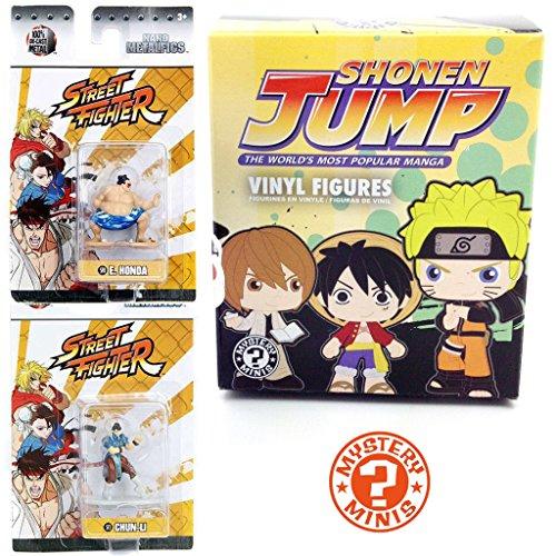 Shonen Jump Manga Mystery Figure Vinyl Mini Funko Box + Street Fighter Mini Figures Metal Nanofigs Jada Video Game Series E. Honda / Chun-Li Character 2-Pack