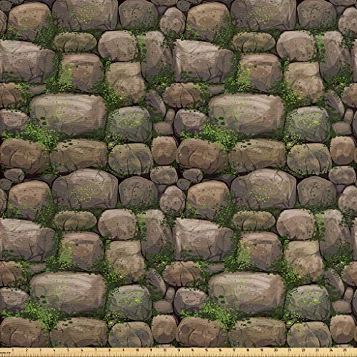(Ambesonne Nature Fabric by The Yard, Stones Covered with Moss Rock Formation Forest Peaceful Meditation Theme, Decorative Fabric for Upholstery and Home Accents, 1 Yard, Dark Taupe Fern)