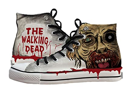 5b39ca4fb39a42 Amazon.com  The Walking Dead Shoes Canvas Shoes Sneakers Hand ...
