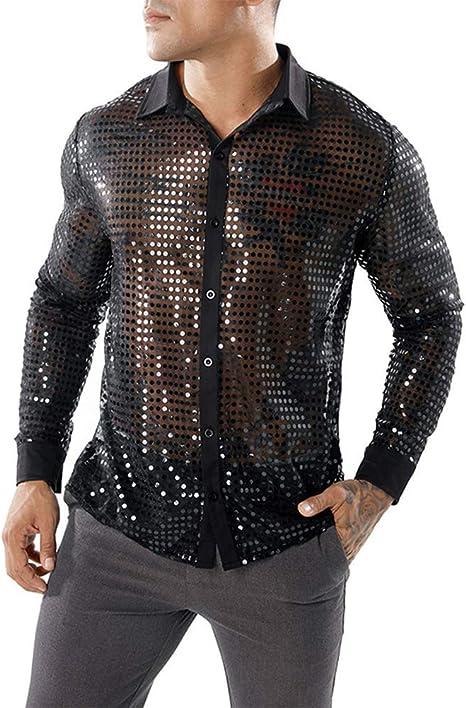 Hahad Camisa Sexy de diseño con Botones para Hombres, Camisa de Manga Larga Redonda de Malla de Punto Largo, Camisa de Solapa con Chaleco Club Party,Black,L: Amazon.es: Deportes y aire libre