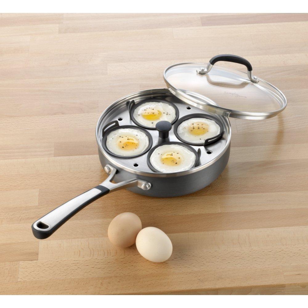Calphalon Simplemente Antiadherente para escalfar Huevos con Tapa ...
