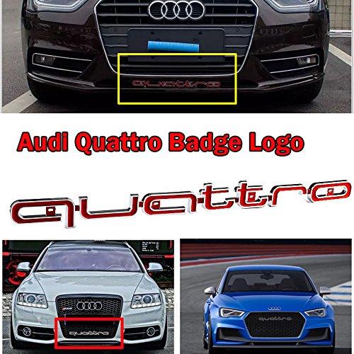 MAX WHOLESALE RS Style Front Quattro Emblem Grille Badge for Audi A1 A3 A4 A5 A6 A7 A8 Q3 Q5 RS Grille (Red) Audi A6 Quattro Fender