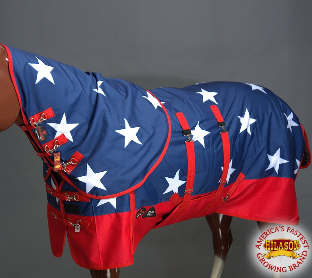 HILASON 78'' 1200D Waterproof Winter Horse Blanket Neck Cover Belly WRAP US Flag