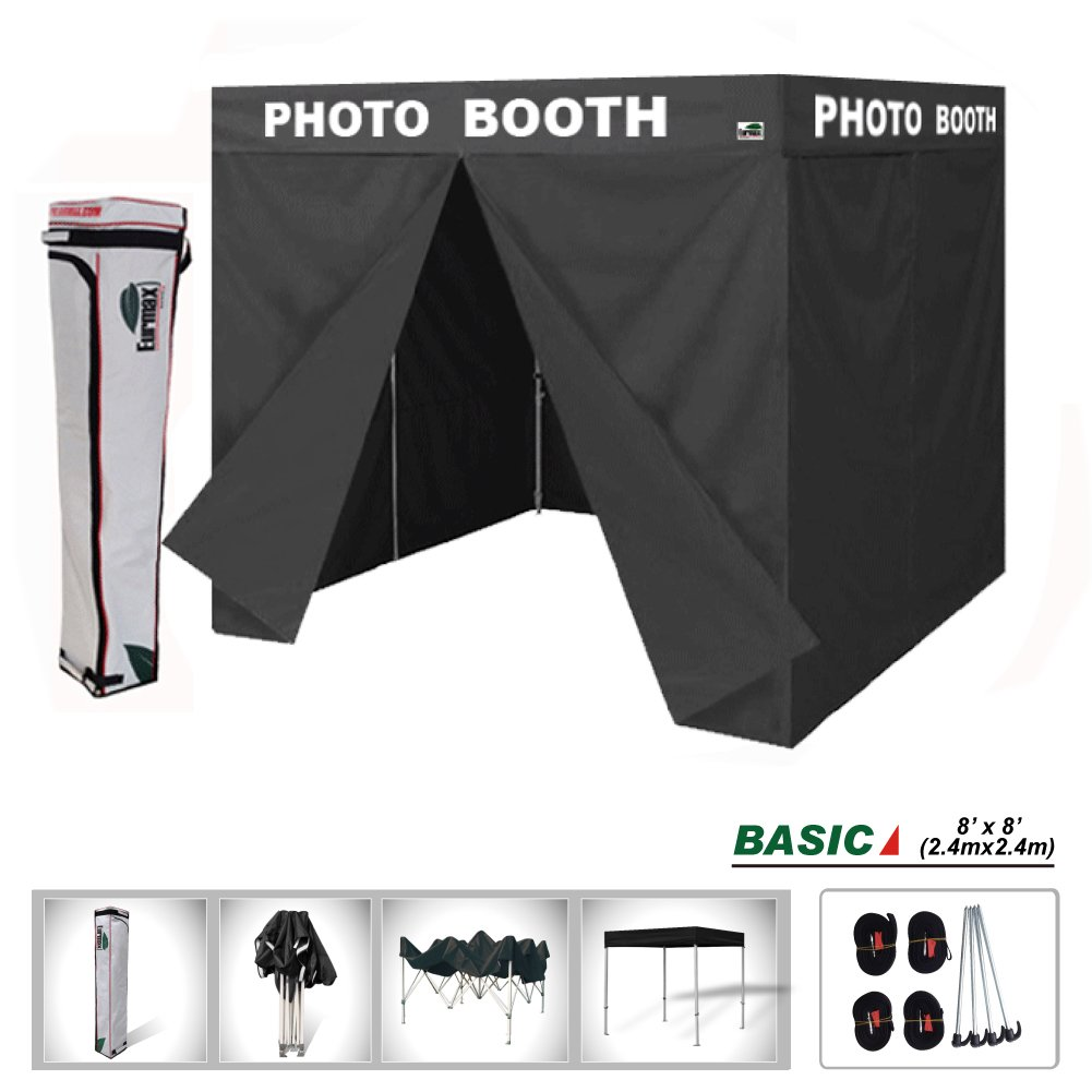 Eurmax Basic 8x8 Ez Pop up Canopy Tent with Photo Booth Printed on 4 Valances Outdoor Party Tent with 4 Removable Zipper End Sidewalls and Carry Bag (8 X 8 Flat Top) by Eurmax