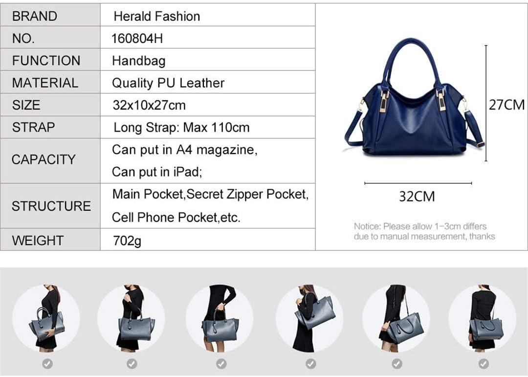 Female PU Leather Bags Handbags Ladies Portable Shoulder Bag Office Ladies Hobos Bag Totes Brown 32x27x10cm