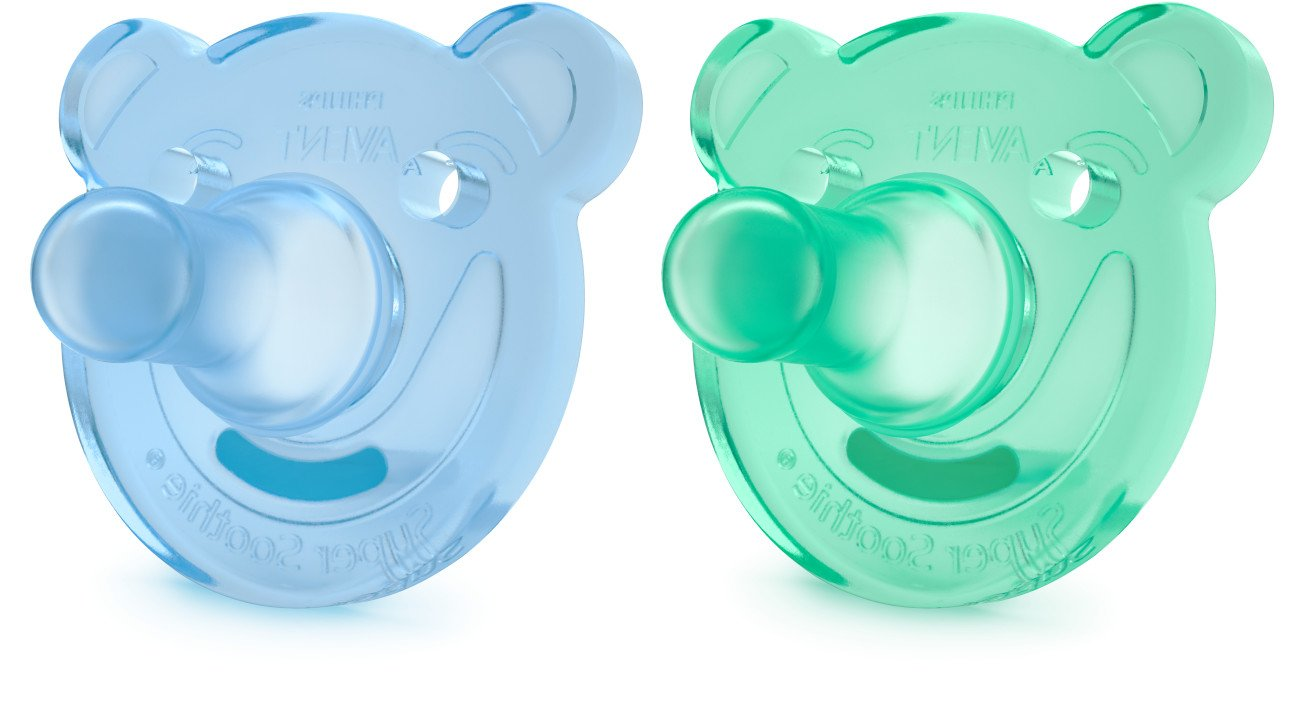 Philips Avent Soothie Bear Shaped Pacifiers, 3 Months Plus, 2-Pack, Blue/Green SCF194/04