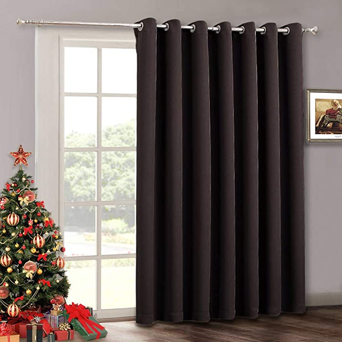 RYB HOME Vertical Blinds for Patio Door Sunlight Blackout Extra Large Drape for Living Room Office Slider Glass Door Bedroom High Ceiling Window Decor, Wide 100 inch x Long 84 inch, Toffee Brown