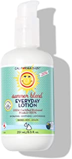 product image for California Baby Summer Blend Everyday Lotion (8.5 Ounces) | 100% Plant-Based (excludes Water) | Moisturizer for Dry, Sensitive Skin | Post Bath and Diaper Changing