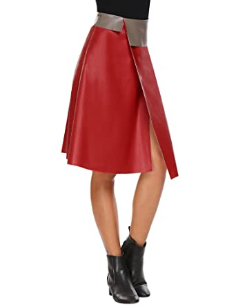 Zeagoo Women Leather Skirt High Waisted A-Line Wrap Midi Pu Skirts Red S bac043d367e