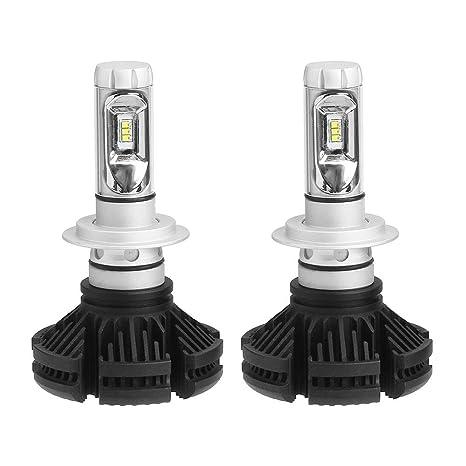 Matefielduk LED Bombillas para Coche Faros Delanteros DICN 1 par 9-32V 6000LM X3 ZES