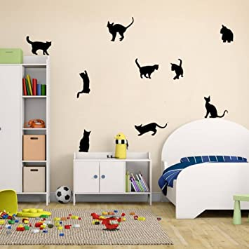 Amaonm Removable DIY Cute Cartoon Black Cat Wall Decor Kids Room Wall  Sticker Lovly Playing Cat Wall Decals Peel Stick for Girls Children Bedroom  ...