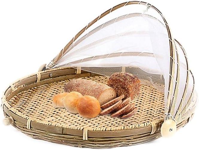 Terynbat Handgewebter Bambuskorb insektensicherer runder Kehrschaufelkorb Picknickkorb Lebensmittelkorb mit Gaze/überzug f/ür Gem/üsefruchtbrot staubdichter Korb