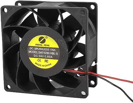 DC 24V 0.6A 80mm 2 cables del ventilador de refrigeración Negro ...