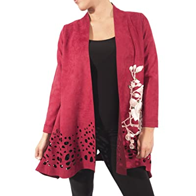 Aris. A Faux Suede Laser Cut Embroidered Burgundy Jacket Style RB17606: Clothing
