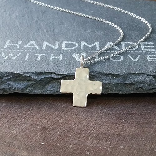 Hammered Finish Sterling Silver Cross Charm Pendant Necklace, 18