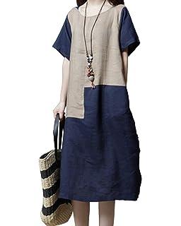 e85ac34a27 Jacansi Women Vintage Short Sleeve Patchwork Kaftan Linen Tunic Dress with Pockets  UK 8-16