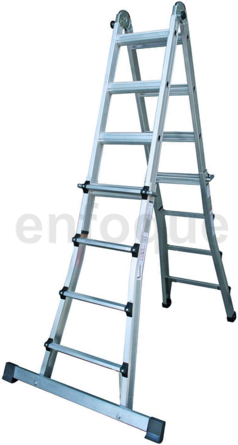 Escalera industrial de aluminio telescópica apoyo-tijera doble acceso 5 + 5 peldaños con barra estabilizadora serie telescopic: Amazon.es: Hogar