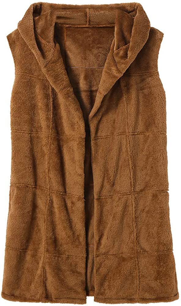 AKIMPE Women Sleeveless Hooded Coat Solid Color Plus Size Warm Long Wool Coat