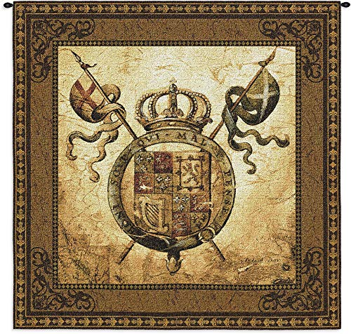 Terra Nova II by Liz Jardine | Woven Tapestry Wall Art Hanging | Old World Crest Regal Crown | 100% Cotton USA Size -