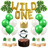 Wild One First Birthday Decorations - Wild One Balloons Glitter Birthday Hat Palm Leaves Cupcake Toppers