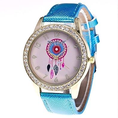 Reloj de Pulsera Cuarzo Dial de Diamantes de Imitación Relojes Unisex(Azul)