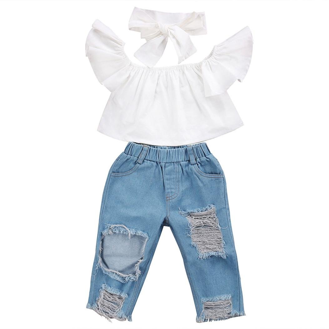 LNGRY 3pcs Baby Girl Off Shoulder Tops+Hole Denim Jean Pant+Headband Outfits Set