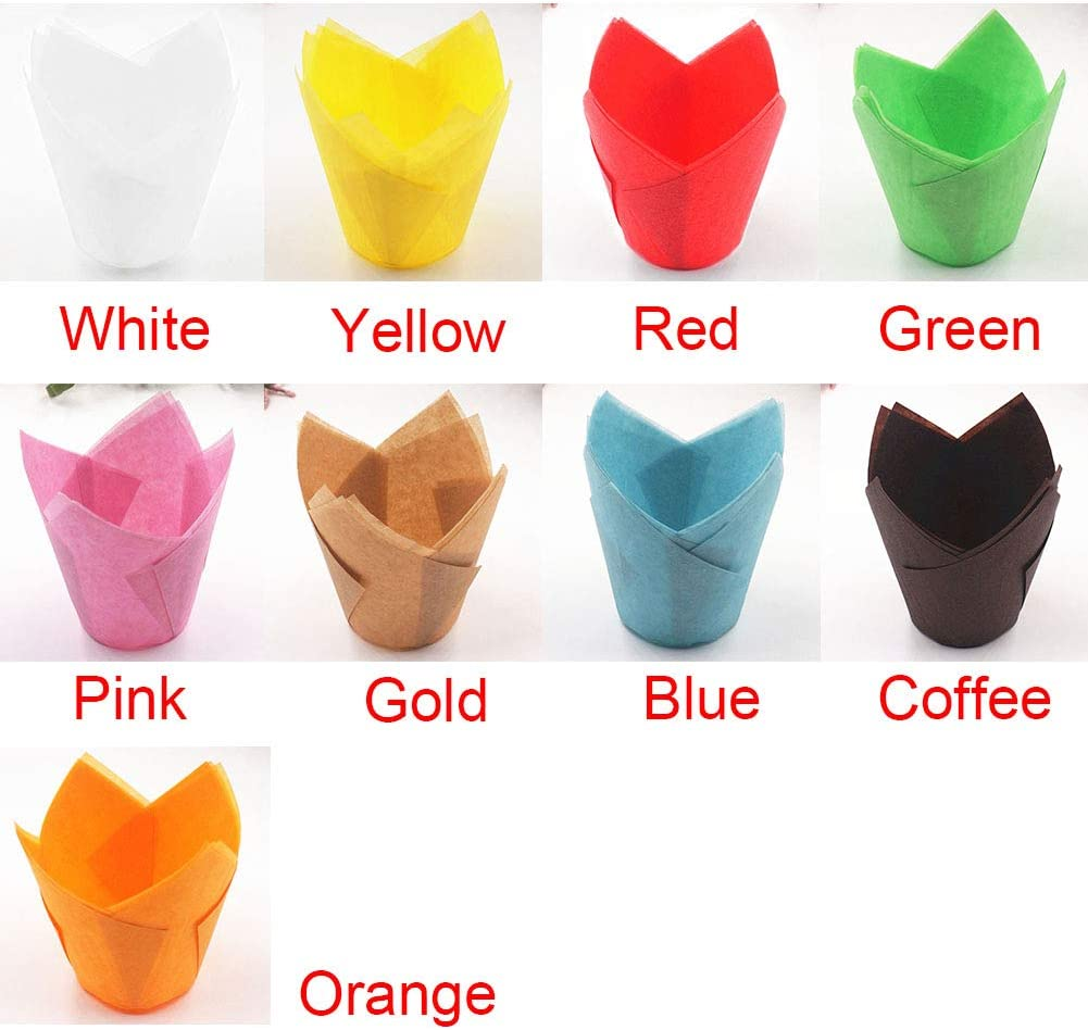 Lot de 50 gobelets jetables en papier l/éger et r/ésistant /à la graisse pour muffins en forme de tulipe Blanc free size Red
