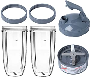 Extractor Blade and Cups Replacement Compatible with Nutribullet 600W/900W Blender,32 Oz Cups with Flip Top To-Go Lid, Screw-Off Lip Ring & Premium 6 Fins Blade (6 Packs)