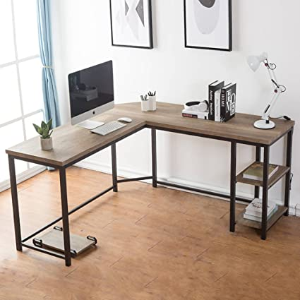 Wood and metal computer desk Pipe Amazoncom Furnichoi Computer Desk Lshaped Desk Corner Laptop Computer Table With Wood And Metal Shelf For Home Office Workstation Kitchen Dining Amazoncom Amazoncom Furnichoi Computer Desk Lshaped Desk Corner Laptop