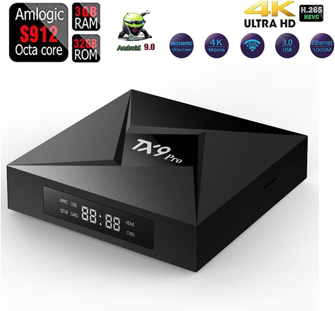 WXJHA TX9 Pro TV Box Octa-Core de 32 GB / 3GB DDR3 Bluetooth Android 7.1 Amlogic S9121080p 4K 3D de 2,4 GHz / 5.0 GHz de Doble WiFi Google Play Smart TV Box: Amazon.es: Hogar
