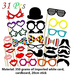 Ieasycan 31 pcs DIY Christmas Party Photo Booth Props Mask Mustache Glasses Funny For Wedding Birthday Party decoration