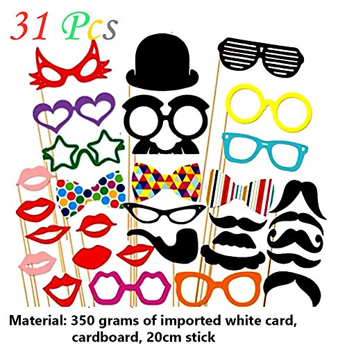 Ieasycan 31 pcs DIY Christmas Party Photo Booth Props Mask Mustache Glasses Funny For Wedding Birthday Party decoration Another Name For Christmas Party