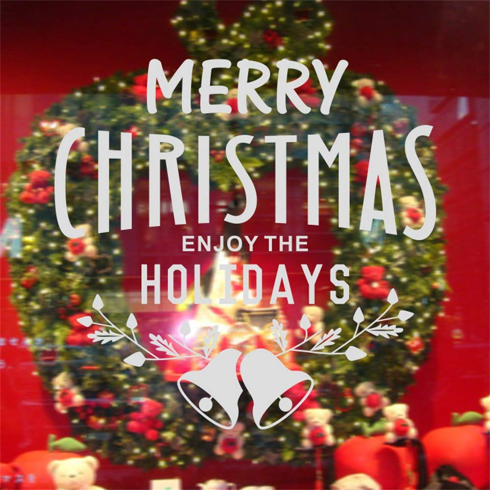 XINDEEK Merry Christmas Decoration Wall Stickers Removable Cute Letter Printed Decal Window Door Shop Glass Protection(Sliver)