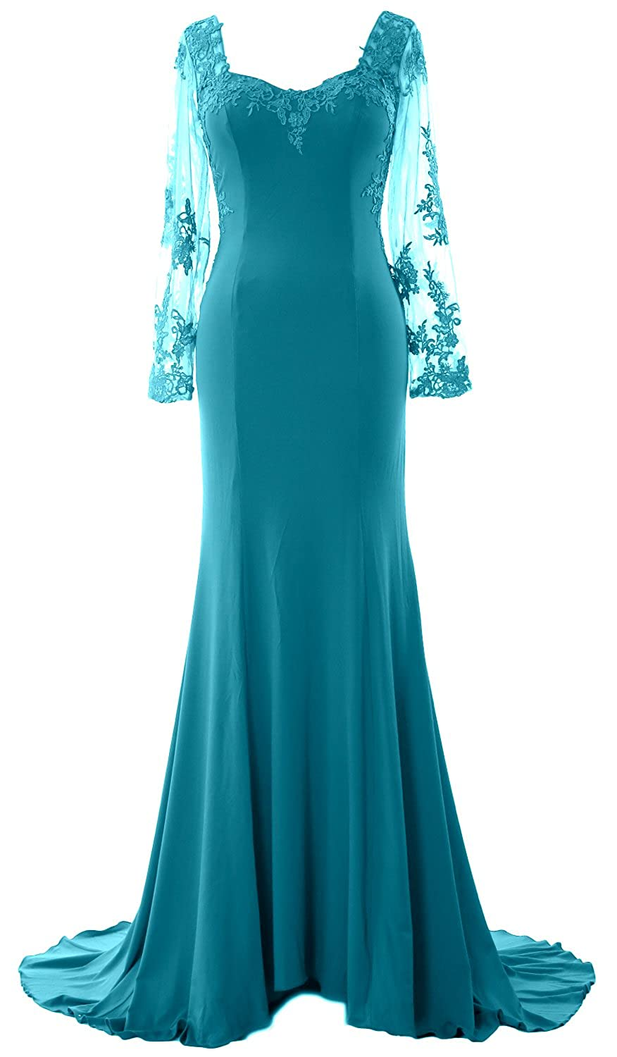 MACloth Women Mermaid Evening Gown Long Sleeve Lace Jersey Formal Prom Dress